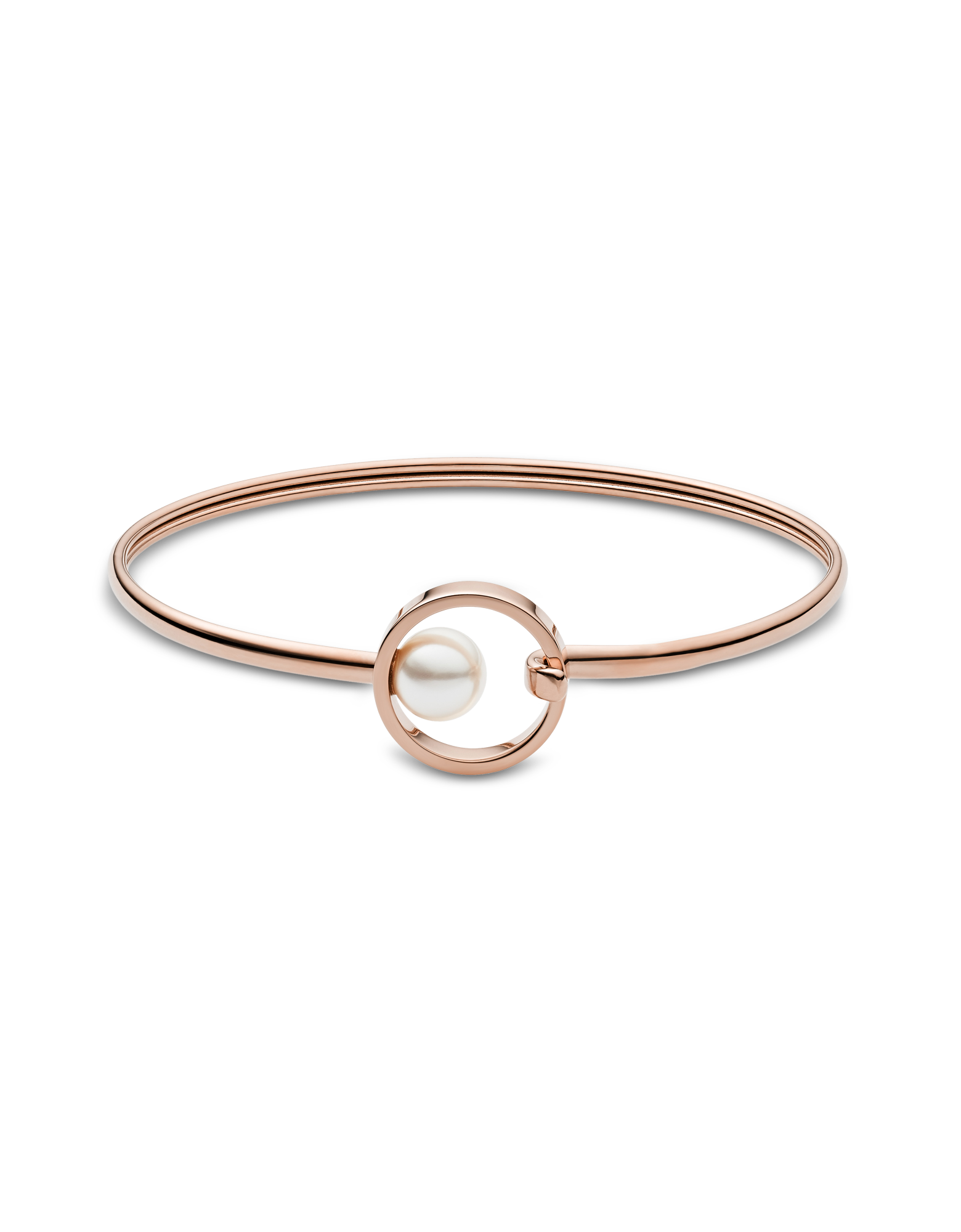 Image of Agnethe Rose Tone Pearl Clasp Bangle