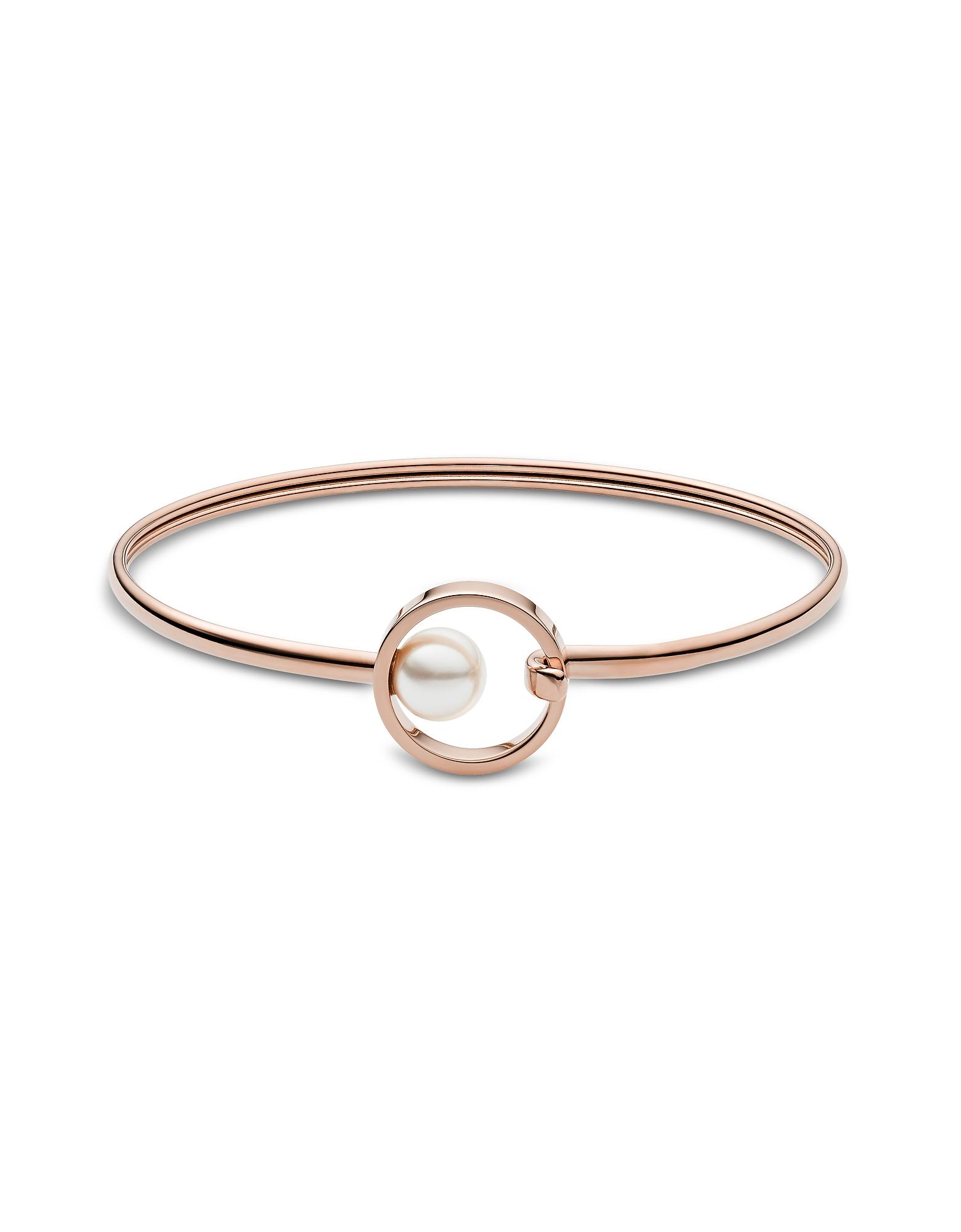Skagen Bracelets, Agnethe Rose Tone Pearl Clasp Bangle