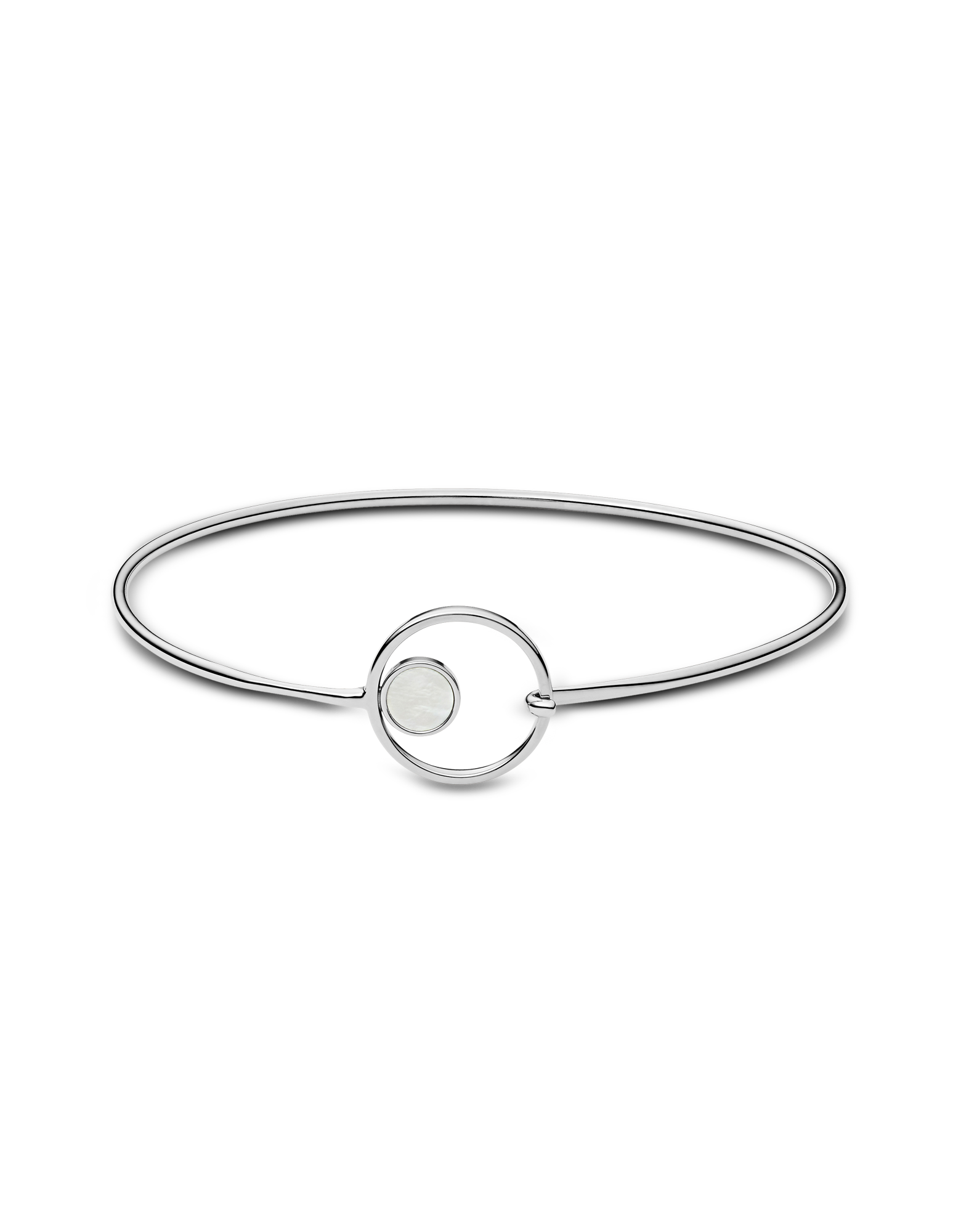 Image of Agnethe Silver Tone Mother of Pearl Bangle Bracelet