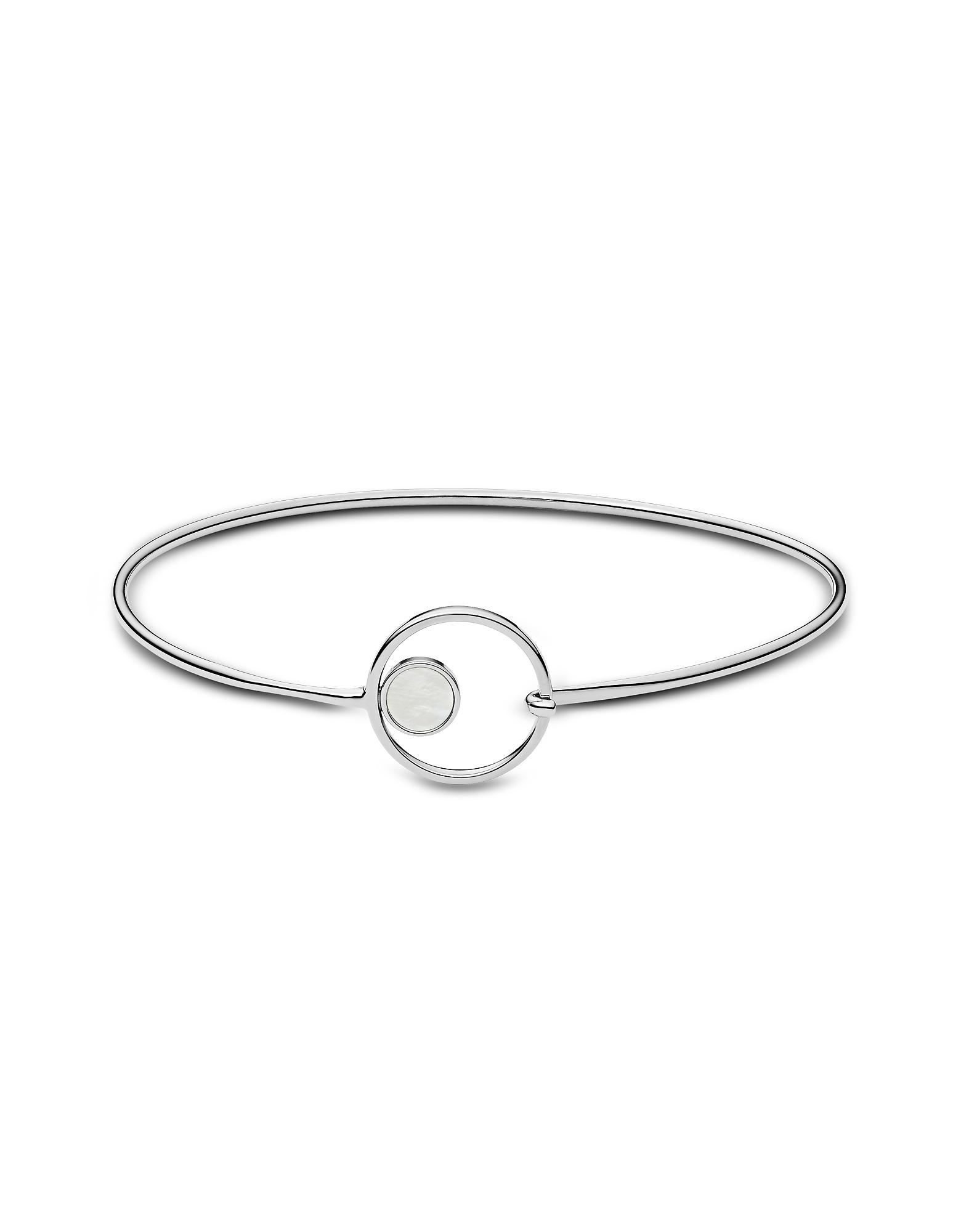 Skagen Bracelets, Agnethe Silver Tone Mother of Pearl Bangle Bracelet