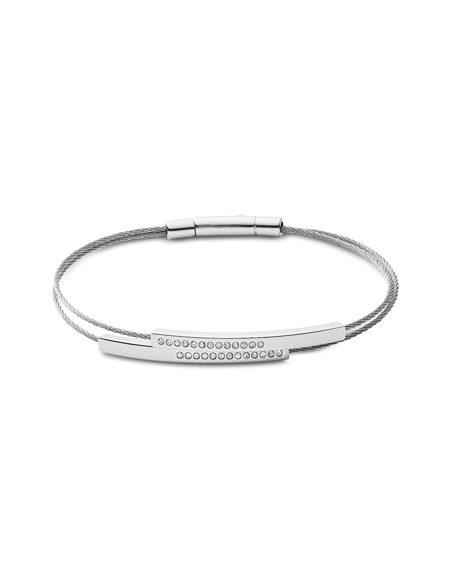 Elin Silver Tone and Crystal Cable Bracelet