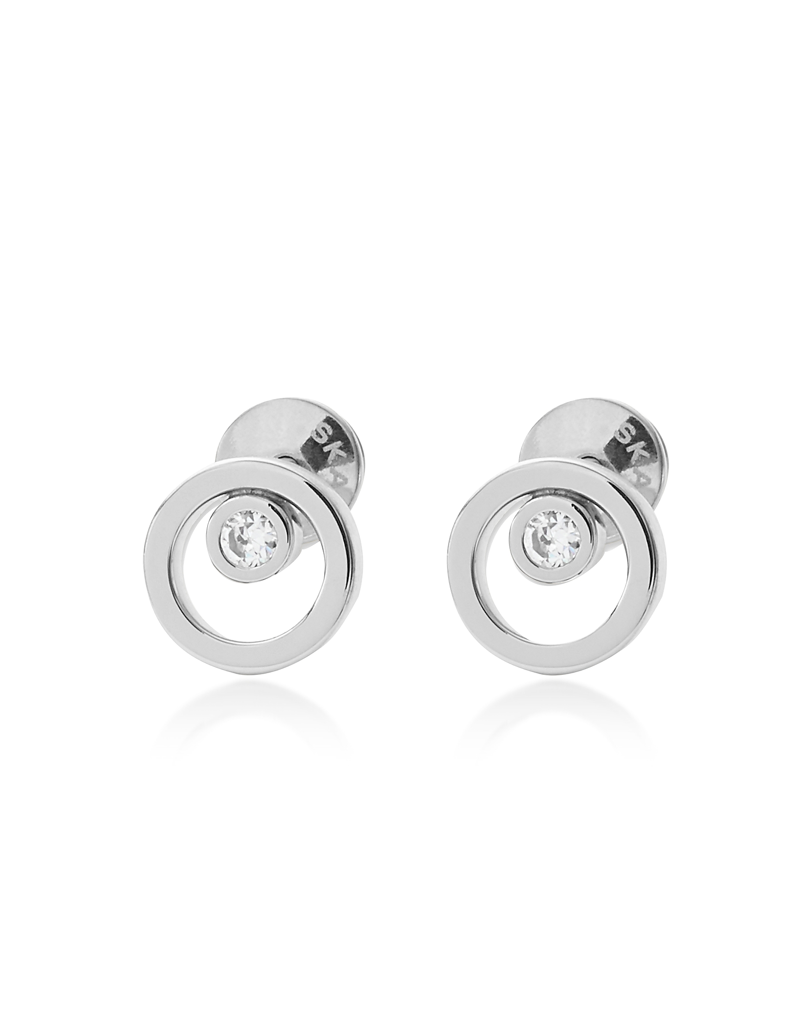 Skagen Earrings, Round Cut Out Stainless Steel Elin Women's Earrings w/Crystals