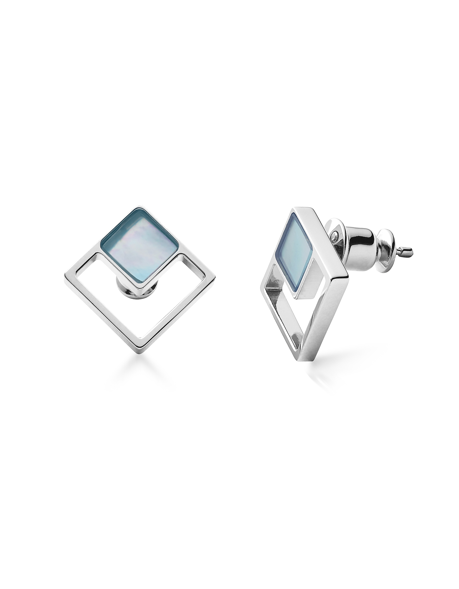 Agnethe Silver-Tone Mother of Pearl Square Stud Earrings