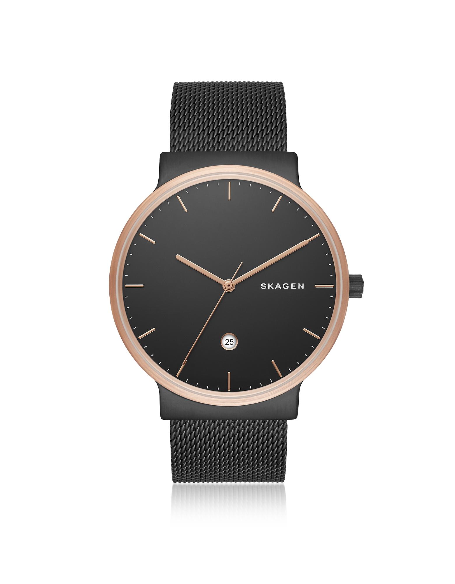 Skagen Men's Watches, Ancher Black Steel-Mesh Men's Watch