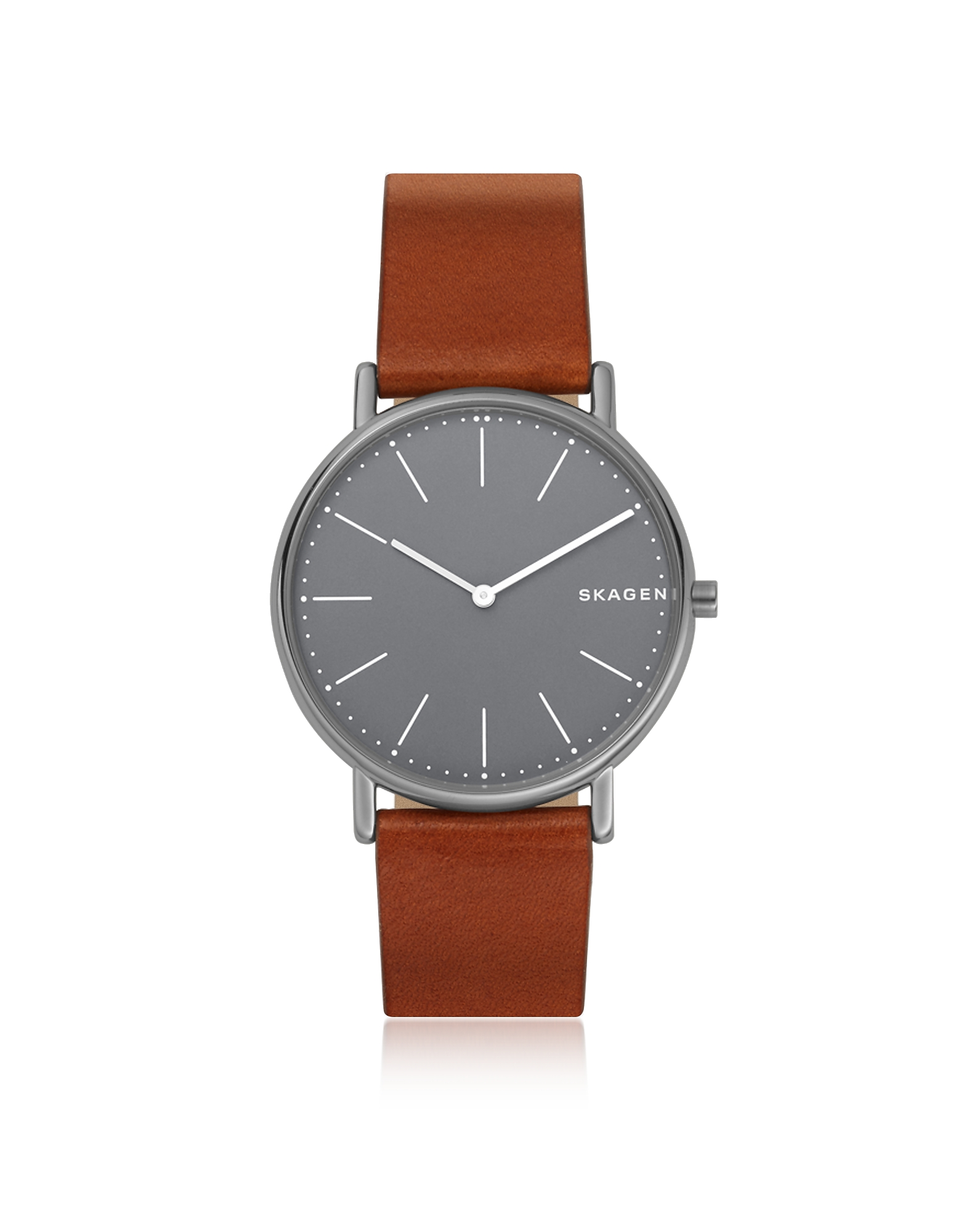 Skagen Men's Watches, Signatur Slim Titanium and Cognac Leather Men's Watch