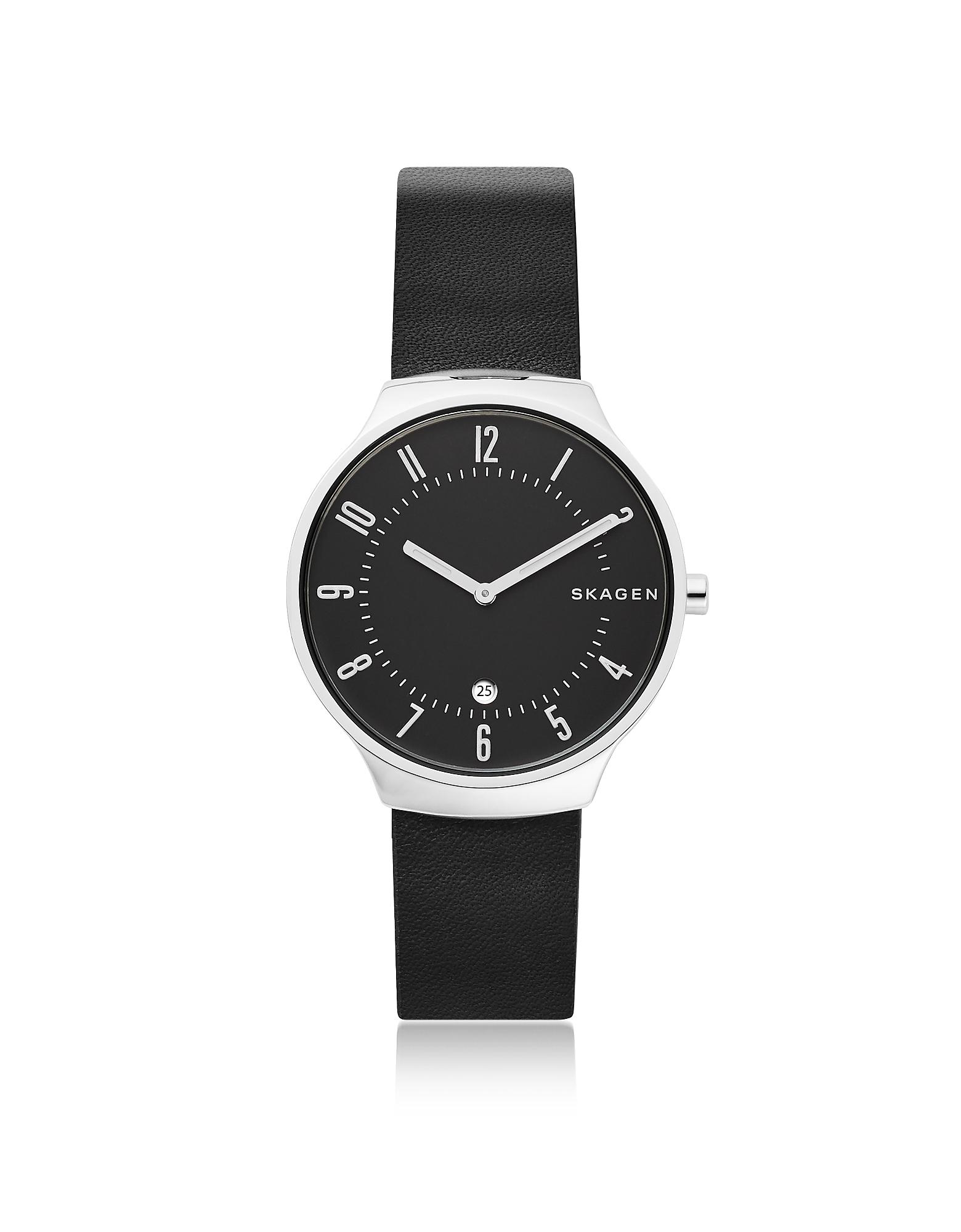Skagen Men's Watches, Grenen Black Leather Men's Watch