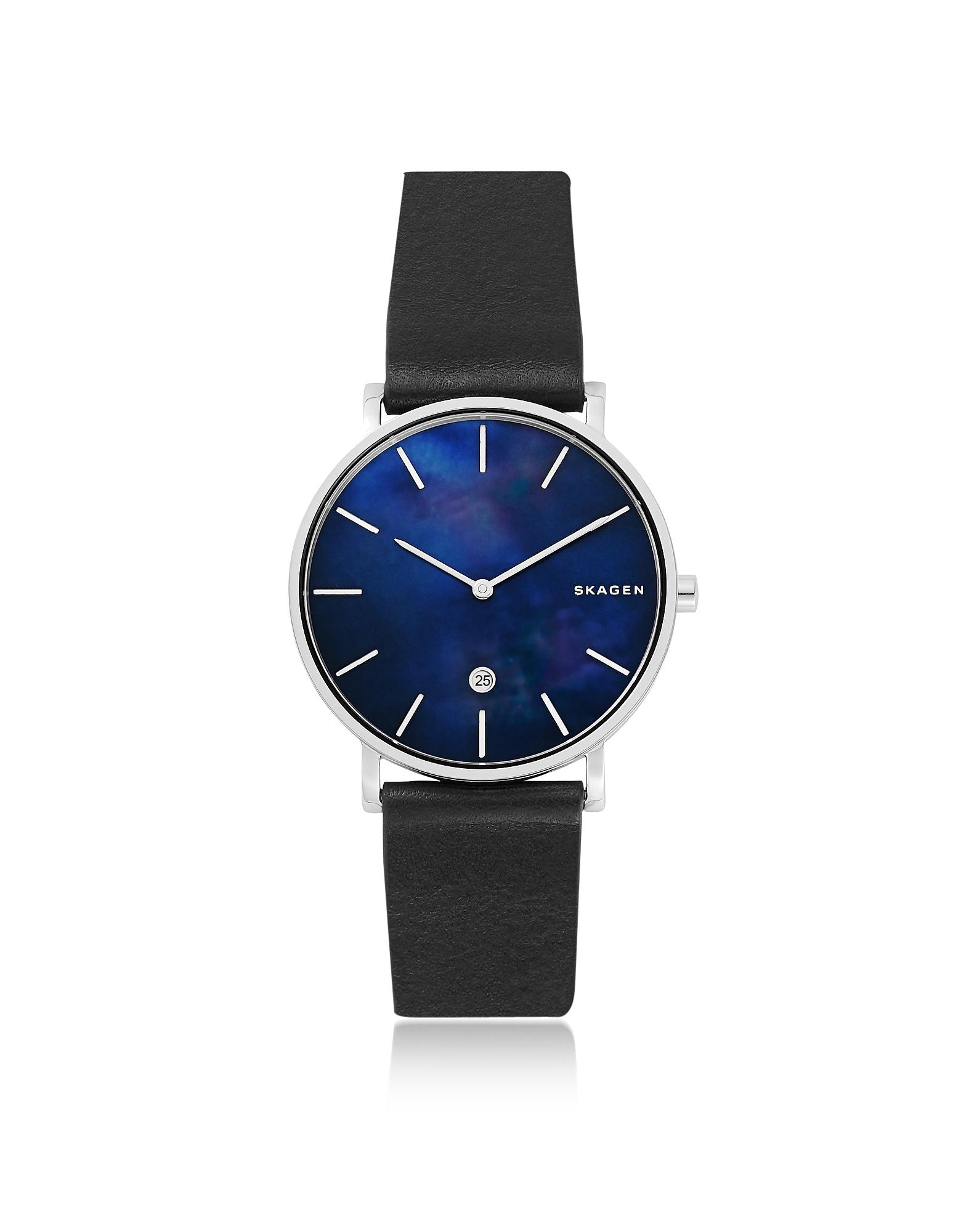 Hagen Slim Black Leather Watch