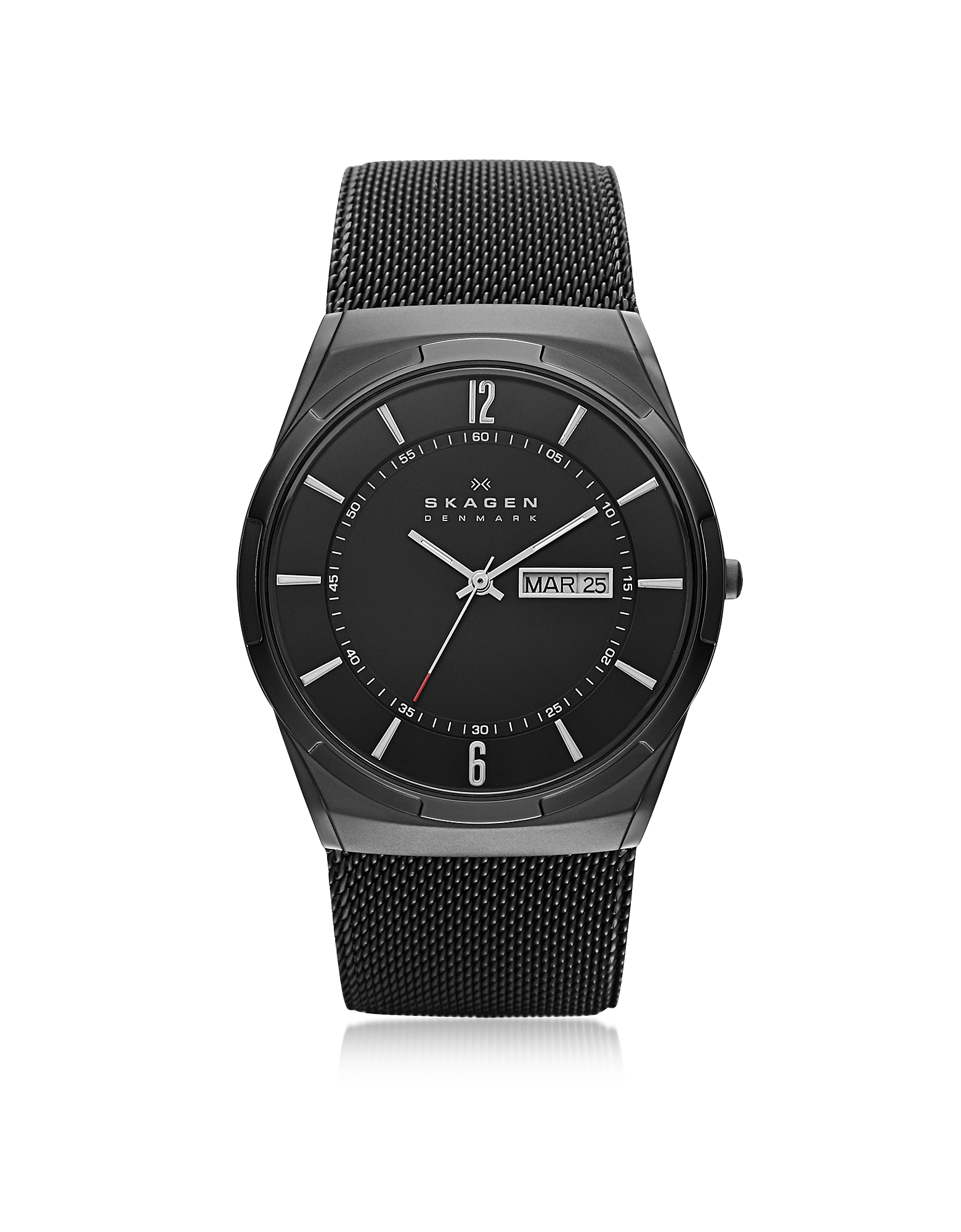 Skagen Men's Watches, Melbye Black Stainless Steel Mesh and Titanium Case Multifunction Men's Watch