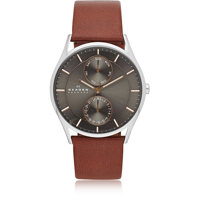 'HOLST' MULTIFUNCTION LEATHER STRAP WATCH, 40MM