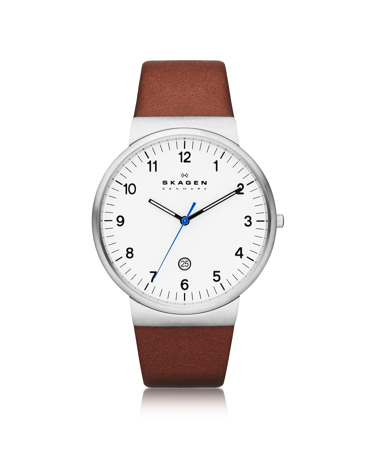 Skagen Men's Watches, Ancher Round Steel Case Men's Watch w/Leather Strap