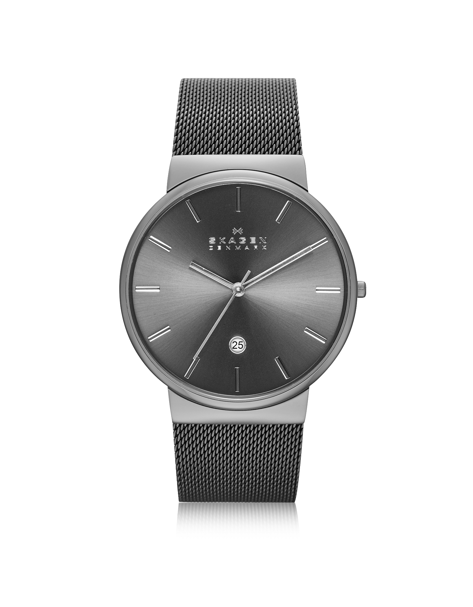 Skagen Men's Watches, Ancher Black Stainless Steel Case Men's Watch w/Mesh Strap