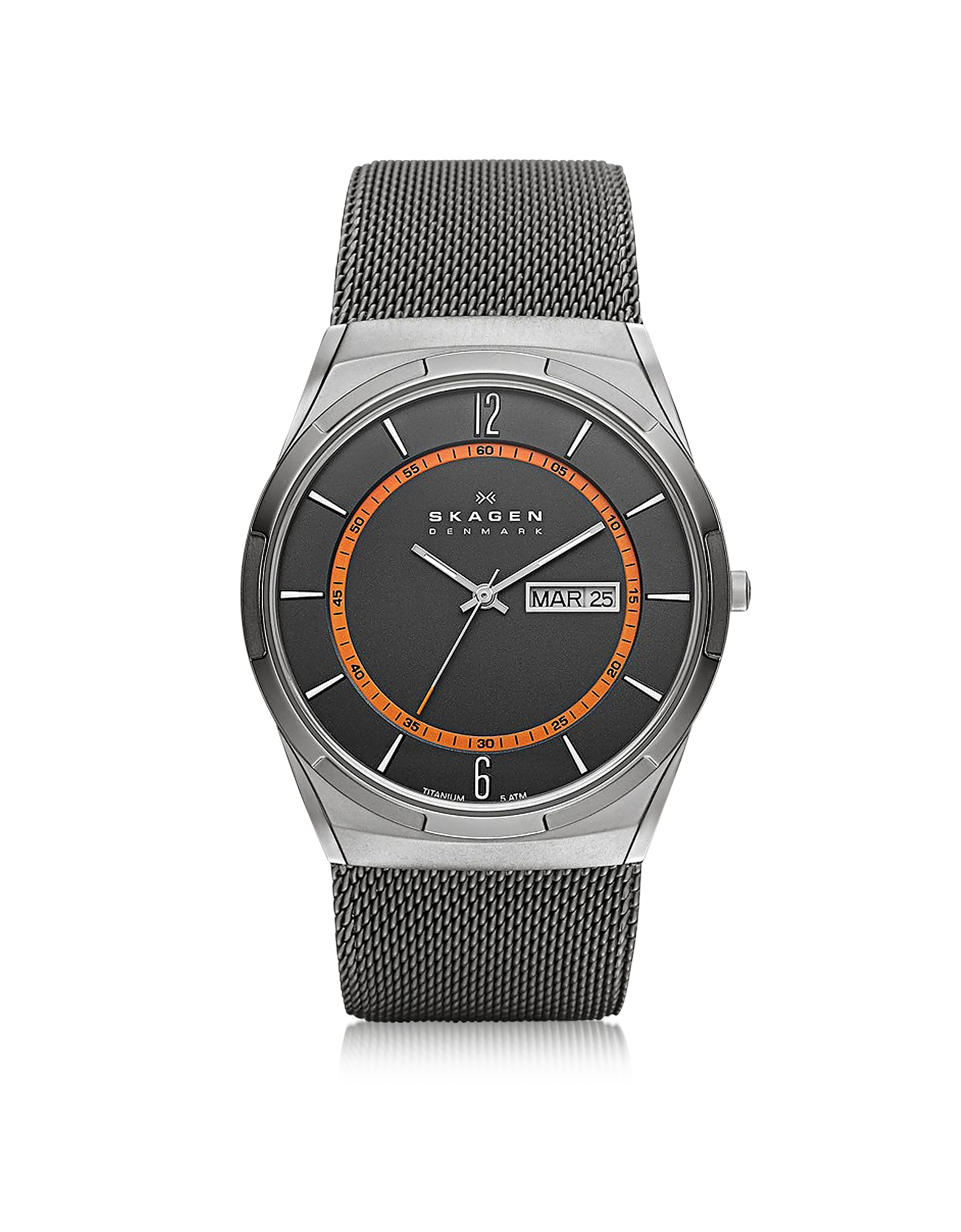 Skagen Men's Watches, Melbye Gray & Orange Titanium Men's Watch