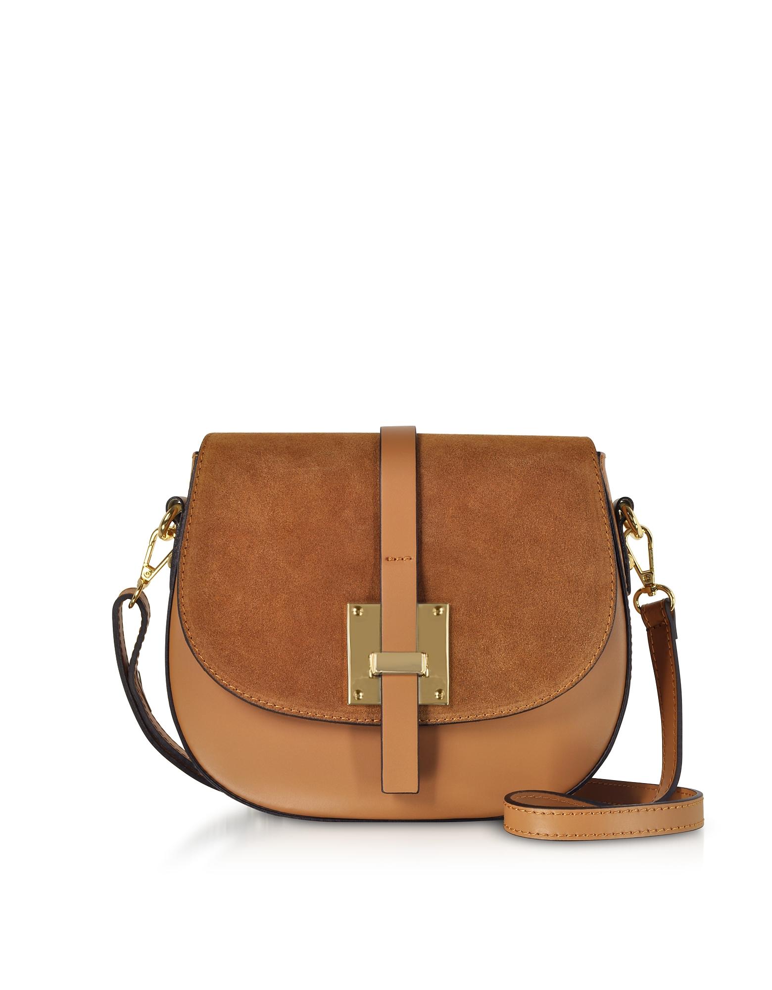 GISÈLE 39 | Gisèle 39 Designer Handbags, Pollia Leather And Suede Shoulder Bag | Goxip