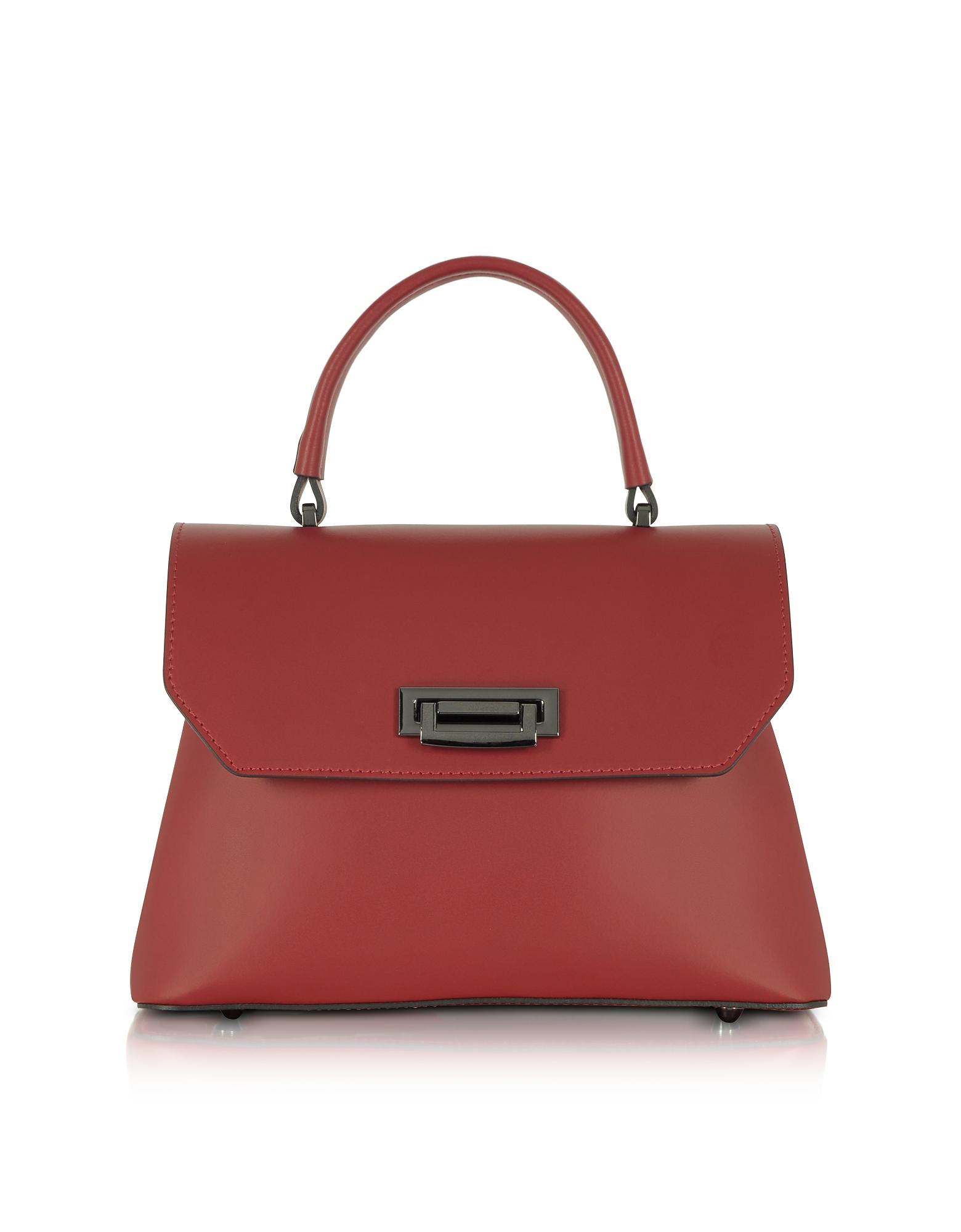GISÈLE 39 | Gisèle 39 Designer Handbags, Lutece Small Leather Top Handle Satchel Bag | Goxip