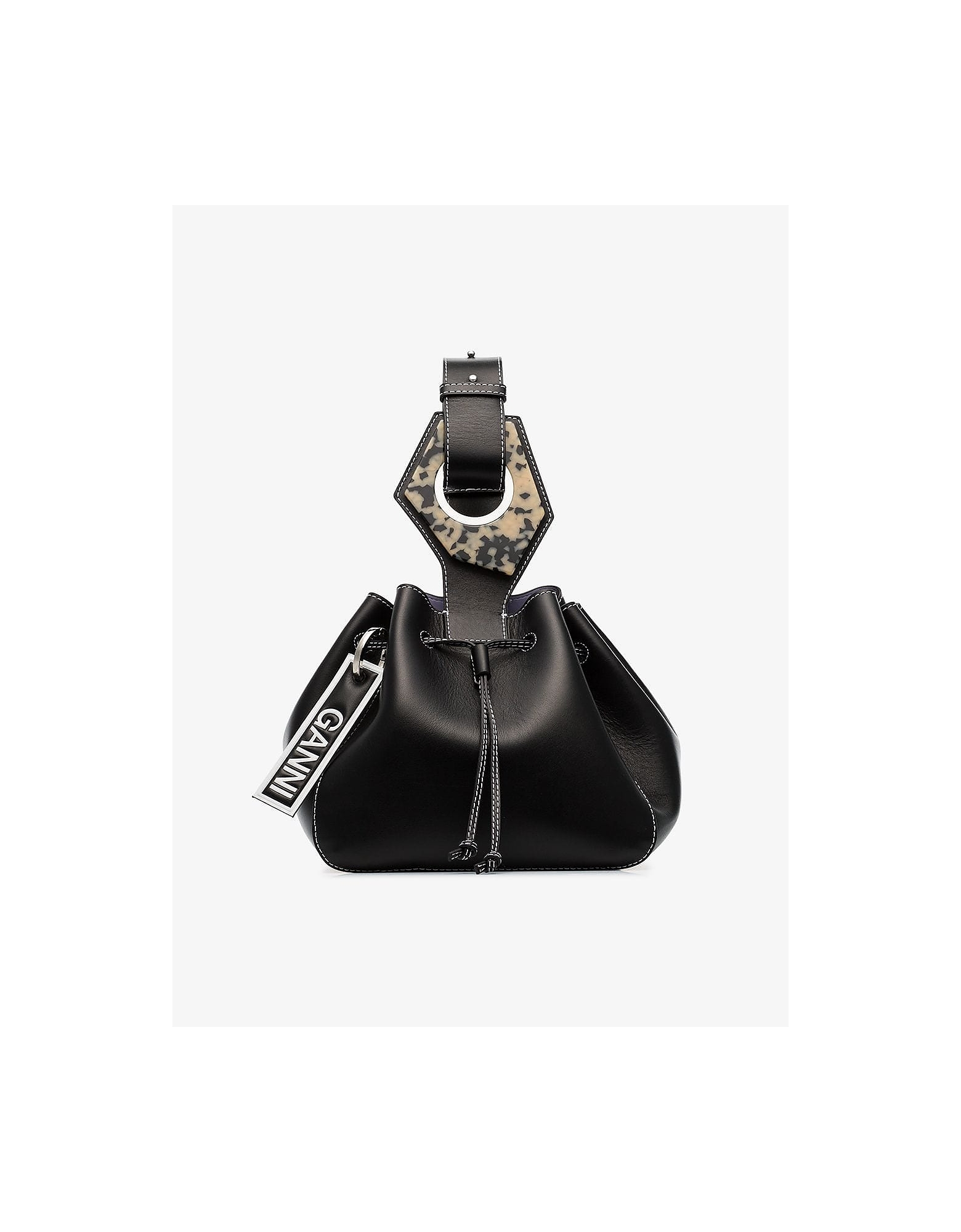 Ganni Designer Handbags, Black Small Leather Drawstring Bag