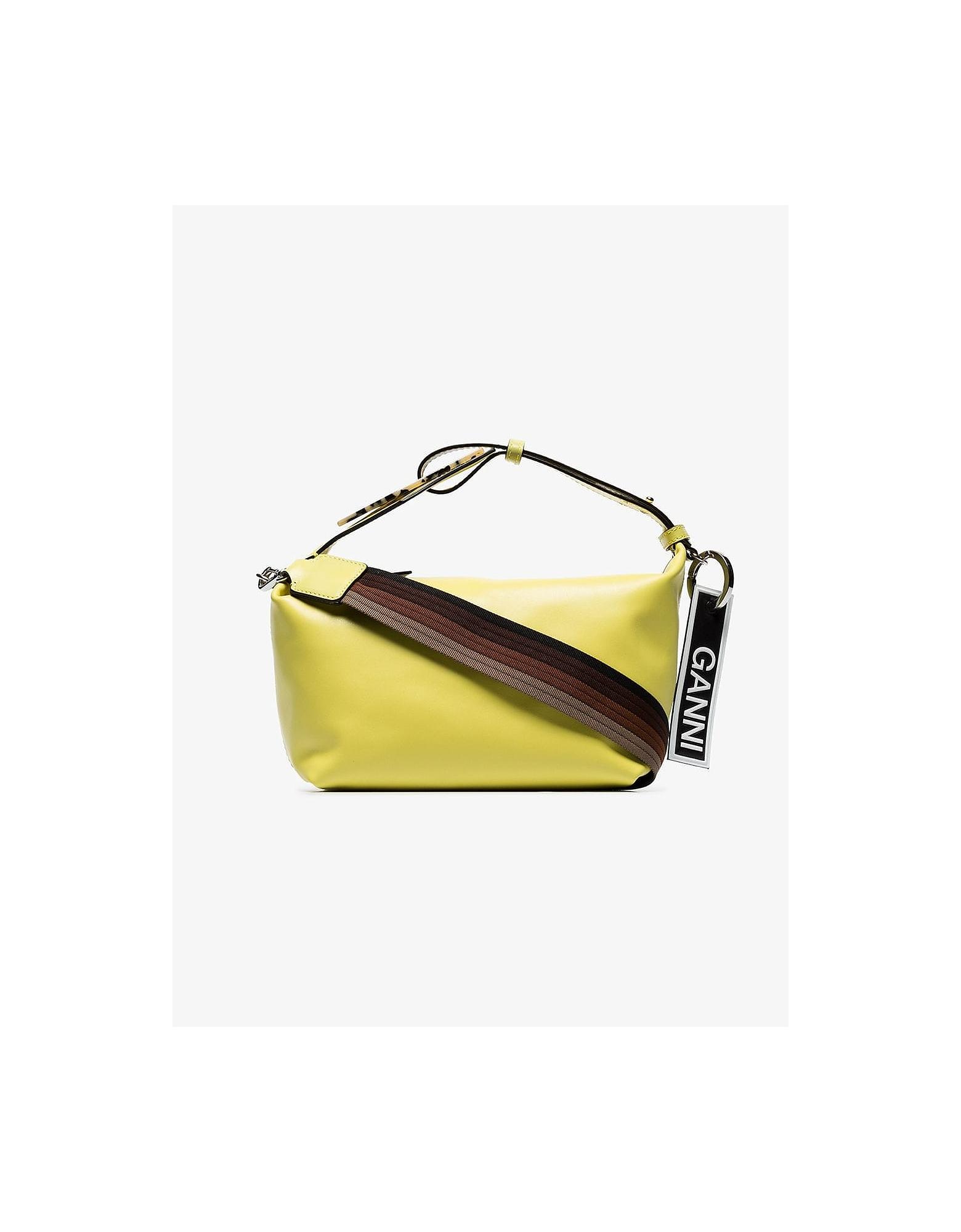 Ganni Designer Handbags, Yellow Dual Strap Leather Shoulder Bag