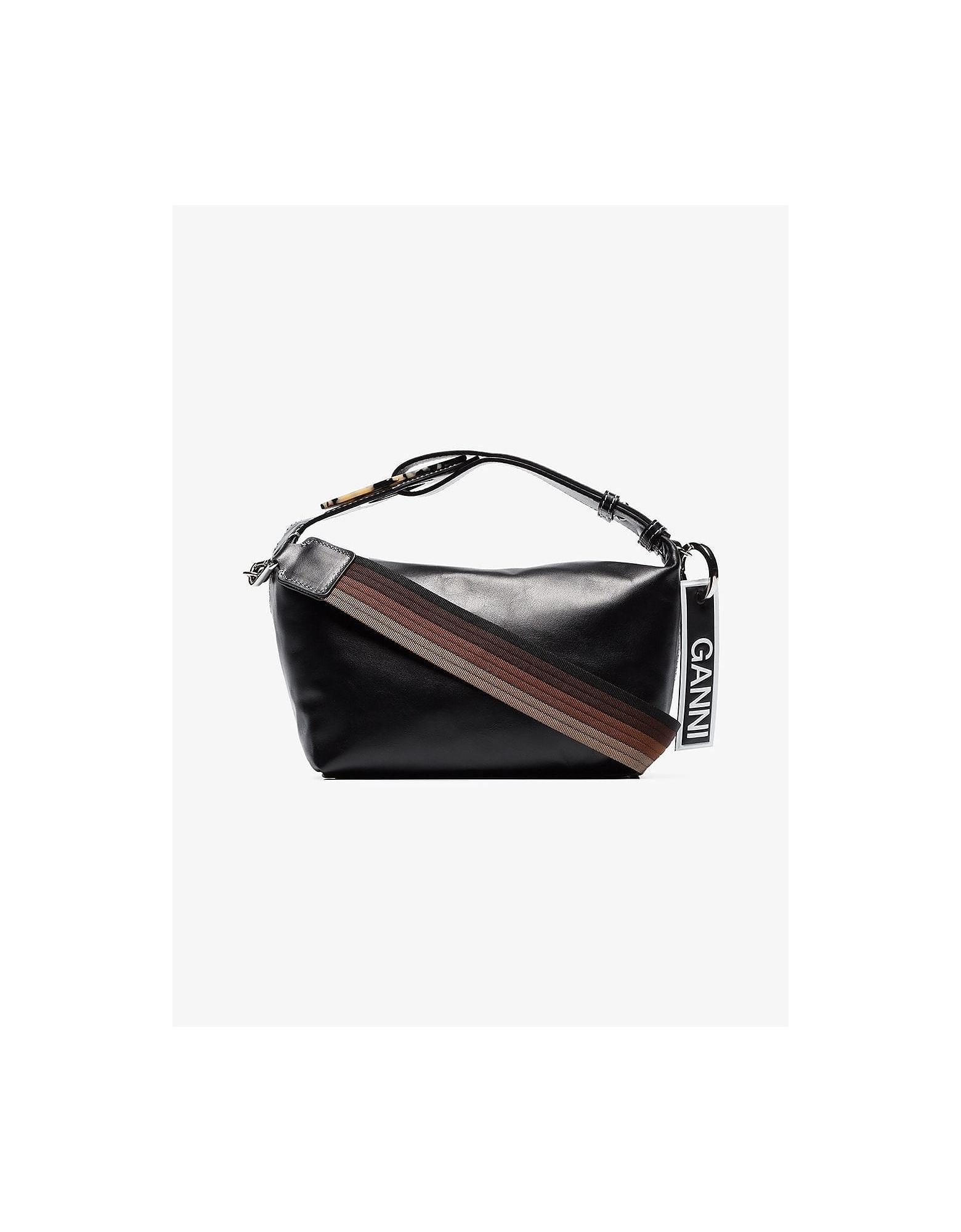 Ganni Designer Handbags, Black Dual Strap Leather Shoulder Bag