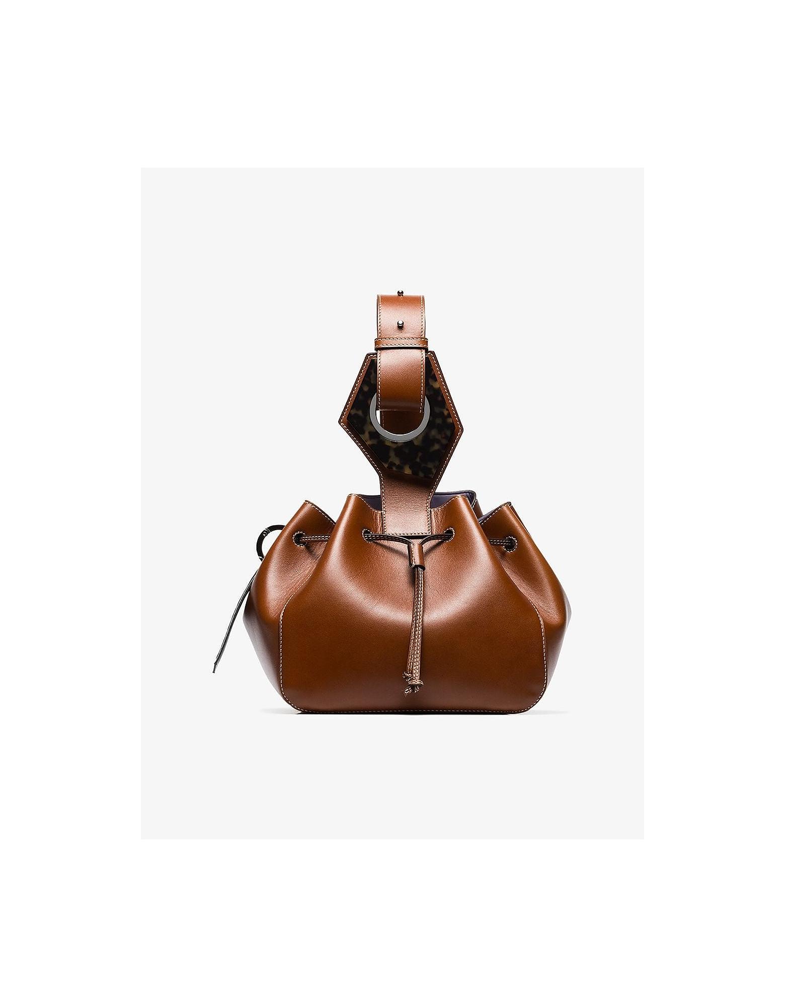 Ganni Designer Handbags, Brown Small Drawstring Bucket Bag