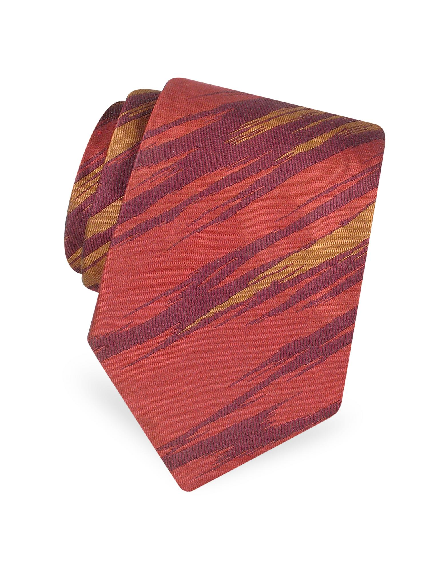 Gokan Kobo Touch  Shimmering Patterned Woven Silk Tie