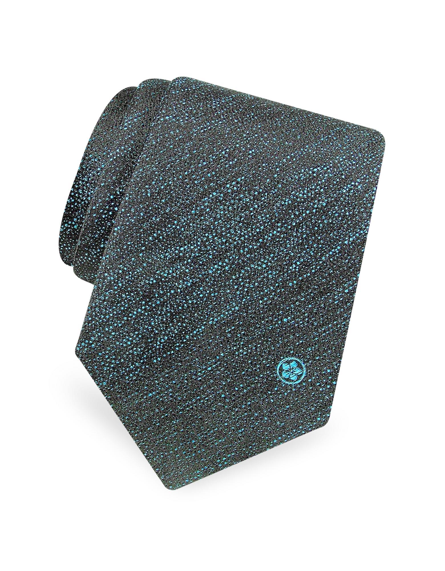 Gokan Kobo Touch Black and Petrol Blue Mini Logo Woven Silk Tie