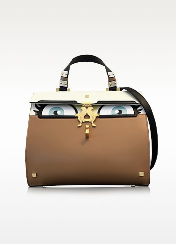 Peggy Beige Brushed Leather Eyes Bag - Giancarlo Petriglia