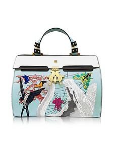 Sky Blue Big Peggy Eyes Bag w/Embroidery Swan - Giancarlo Petriglia