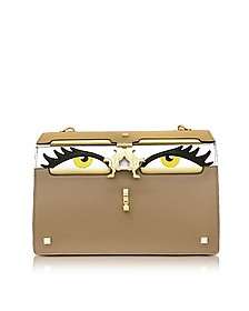Light Brown Color Block Leather Peggy Eyes Shoulder Bag - Giancarlo Petriglia