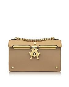 Light Brown Color Block Leather Peggy Eyes Shoulder Bag - Giancarlo Petriglia