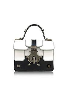 Black and White Mini P-Bag w/Ruthenium Signature Closure - Giancarlo Petriglia