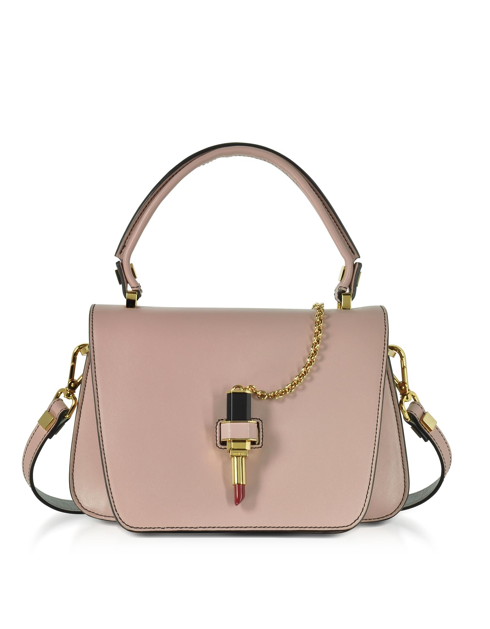 Фото Queen Bag - Маленькая Светло-розовая Кожаная Сумка с Губной Помадой. Купить с доставкой