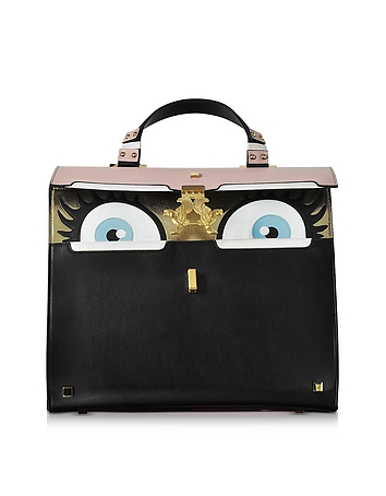 Giancarlo Petriglia - Peggy Black and Pink Brushed Leather Eyes Bag