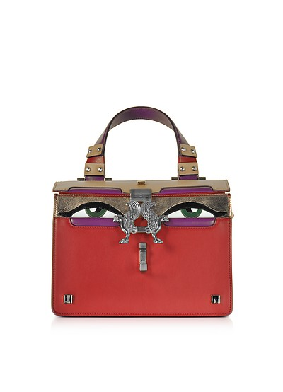 Red Leather Mini Peggy Eyes Satchel Bag - Giancarlo Petriglia