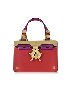 Red Leather Mini Peggy Eyes Satchel Bag - Giancarlo Petriglia