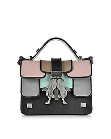 Black and Colorblock Mini P-Bag w/Ruthenium Signature Closure - Giancarlo Petriglia