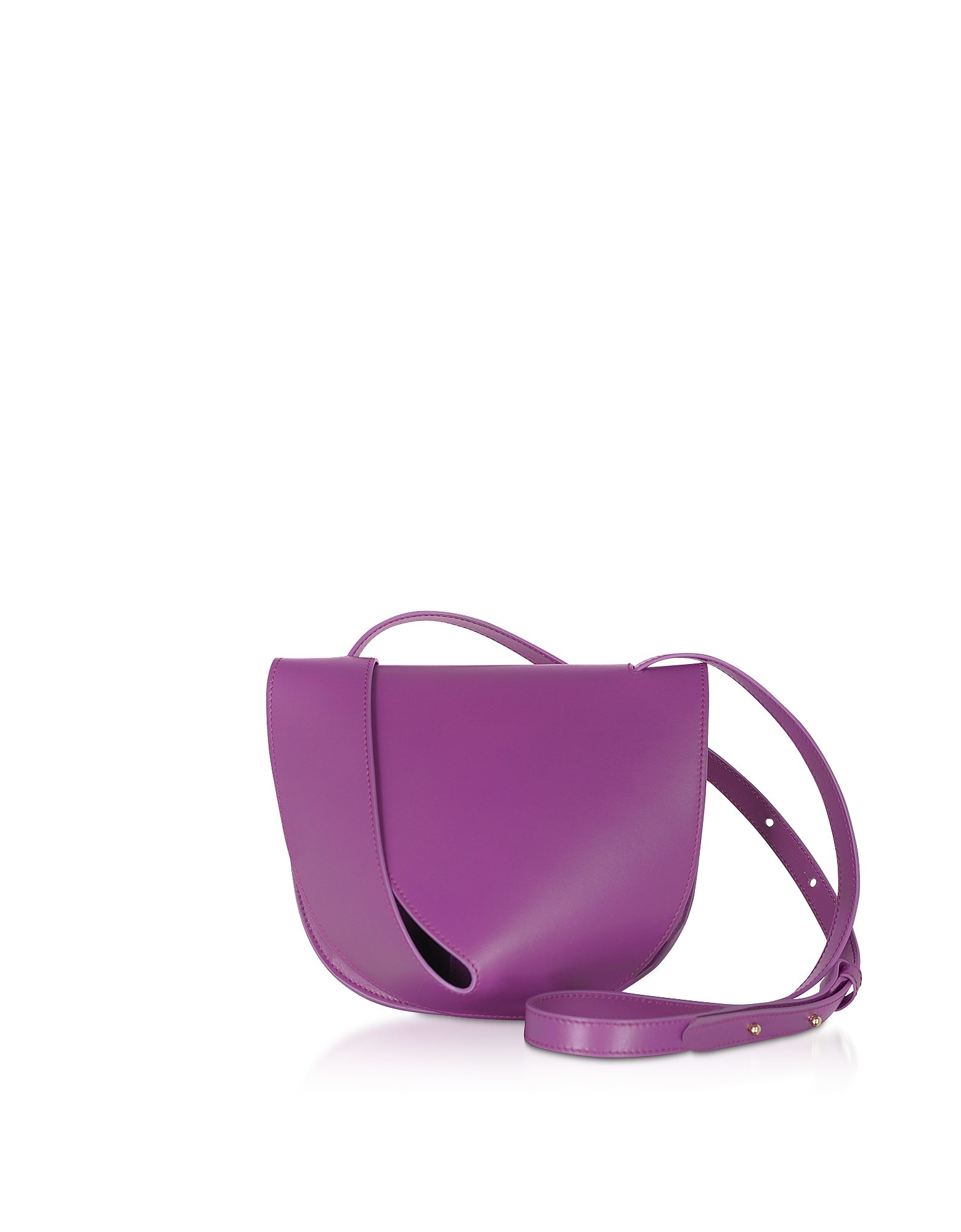 Giaquinto Designer Handbags, Candy Saddle Orchid-Egret Shoulder Bag