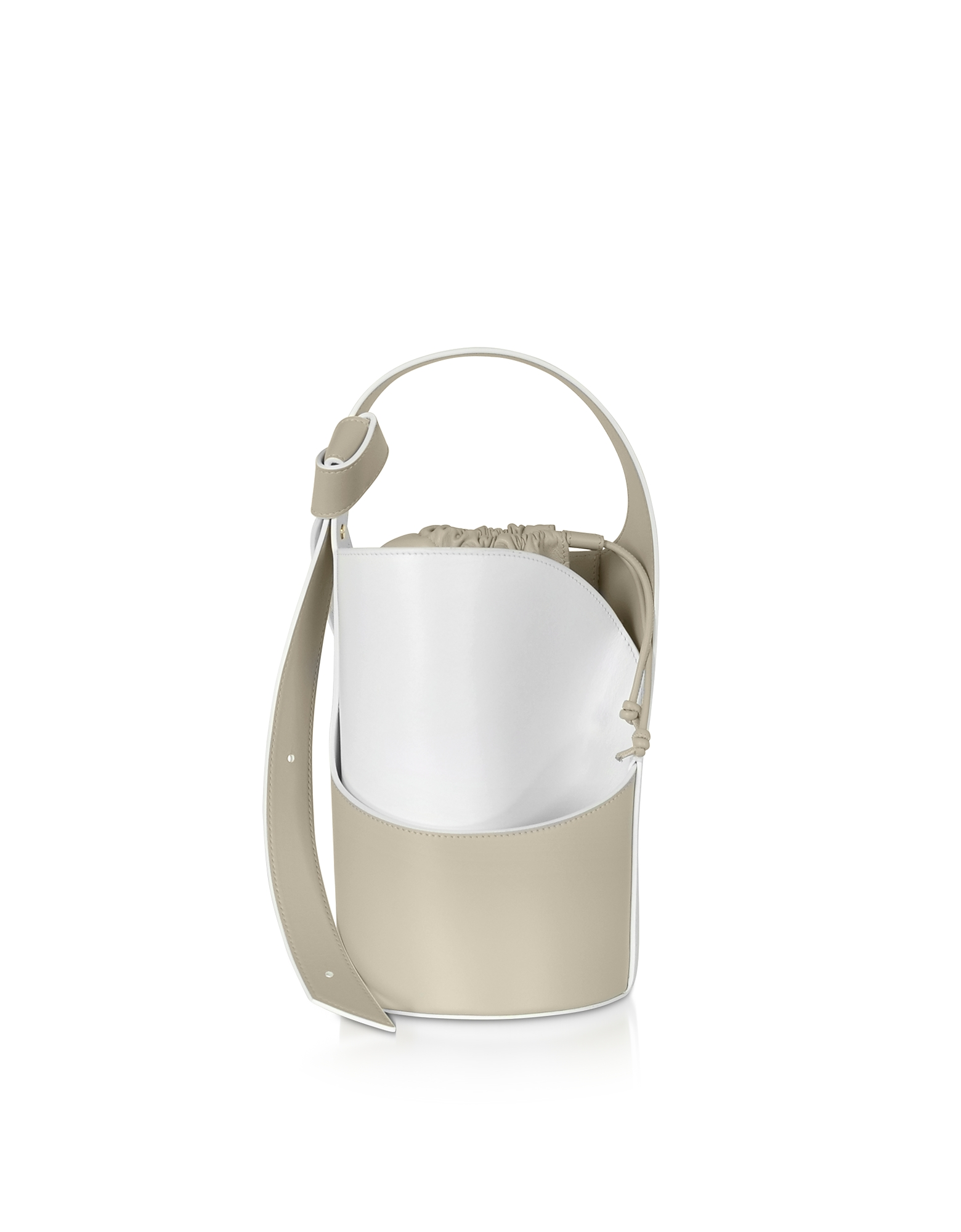 Giaquinto Designer Handbags, Lily Mini Egret White Bucket Bag