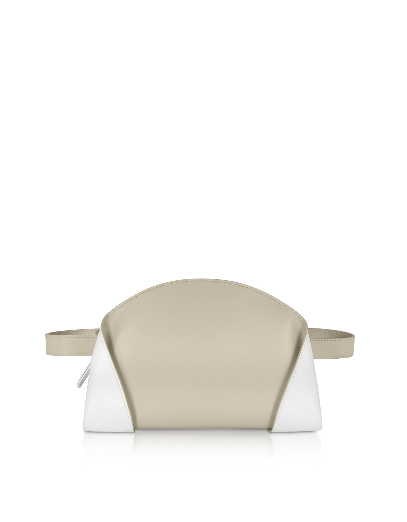 Giaquinto Designer Handbags, Egret White Freya Belt Bag