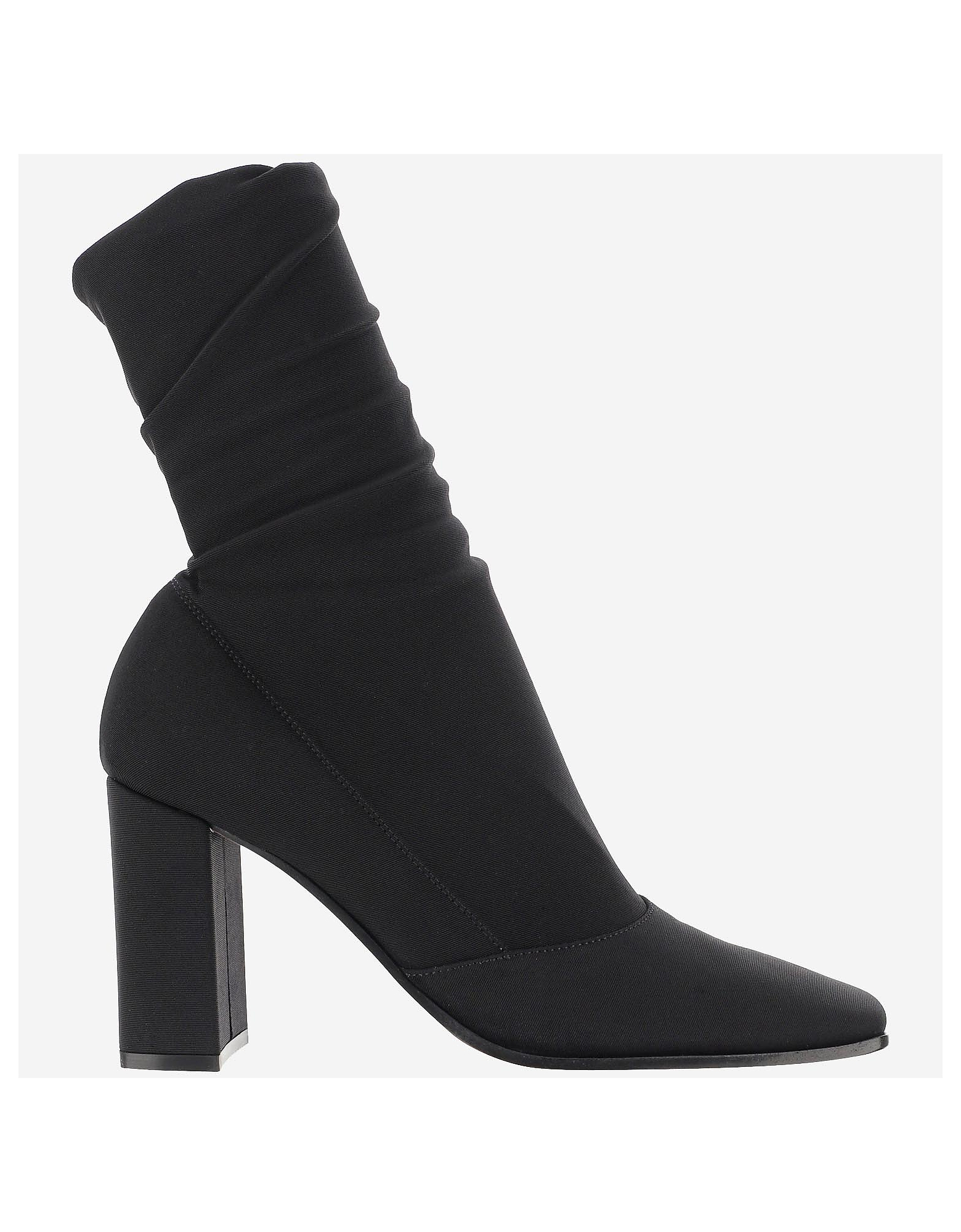 Gianvito Rossi Designer Shoes, Black Stretch Fabric Ankle-Boots