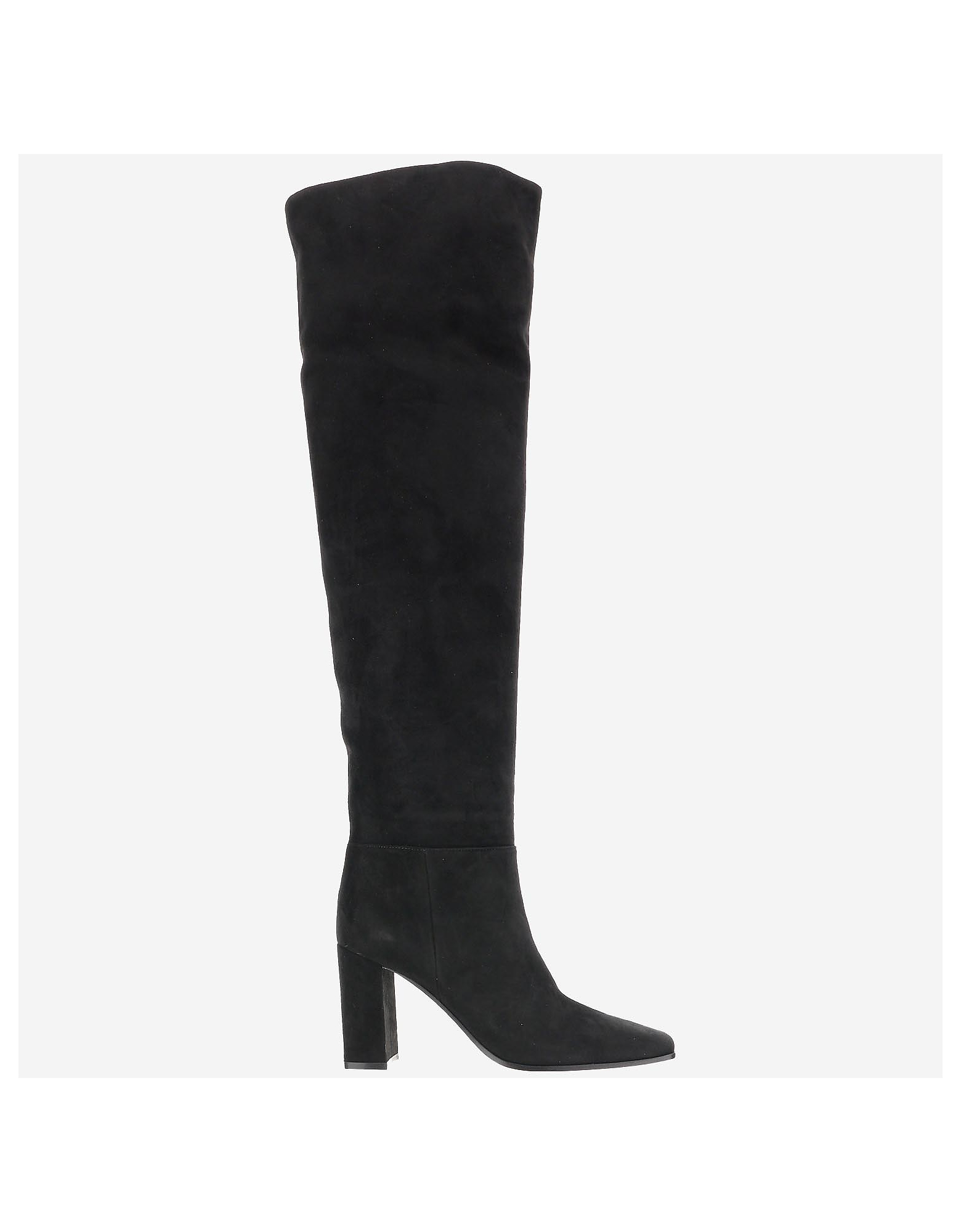 Gianvito Rossi Designer Shoes, Black Suede Over-the-Knee Boots