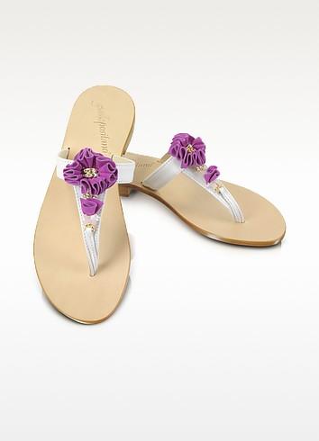 Purple Suede Flower w/Crystal Sandal Shoes - Giallo Positano