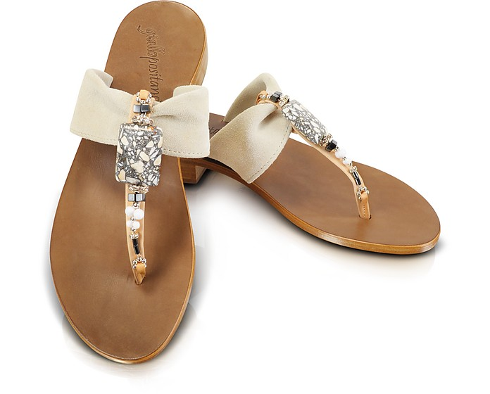 Jeweled T-Strap Suede Sandal Shoes - Giallo Positano
