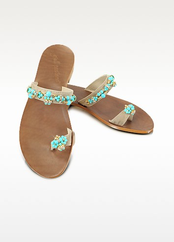 Jeweled Suede Sandal Shoes - Giallo Positano