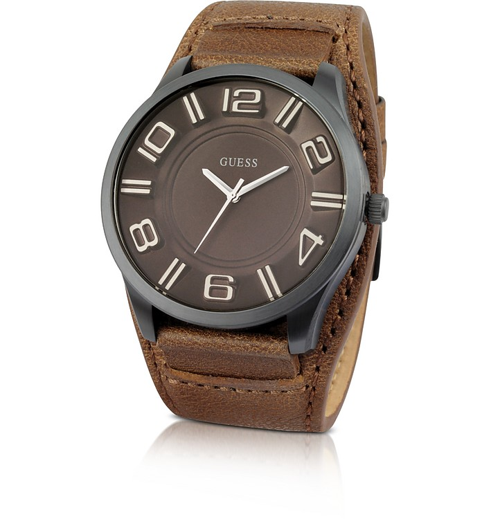 Men's Oversize Leather Watch - Guess