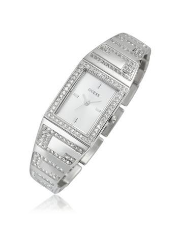 Guess Stainless Steel Crystal Bezel Logo Watch