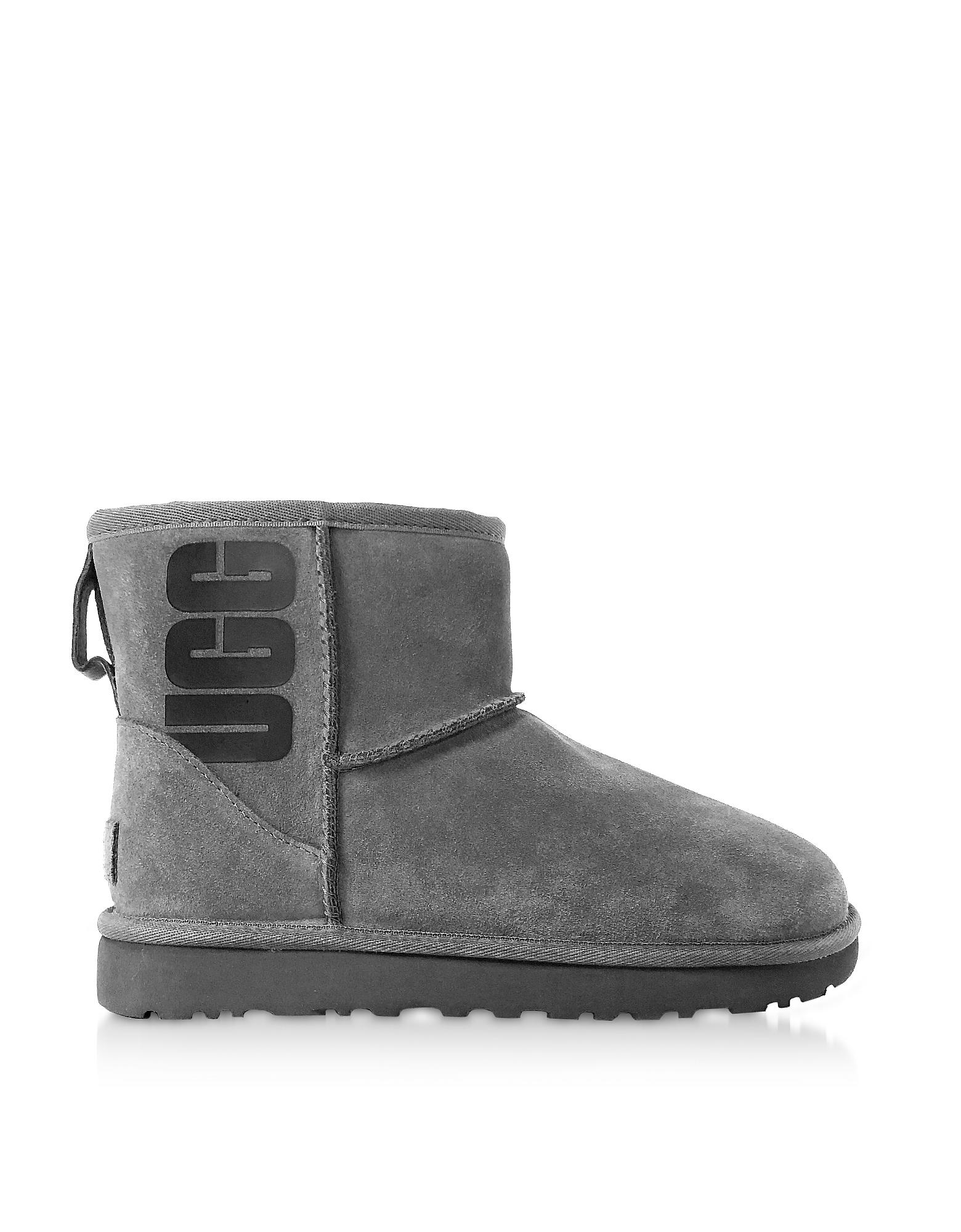 UGG Designer Shoes, Grey Mini Classic Ugg Rubber Logo Boots