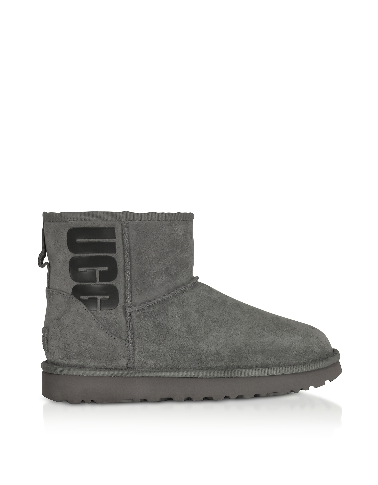 UGG Designer Shoes, Grey Mini Classic Ugg Rubber Logo Boots