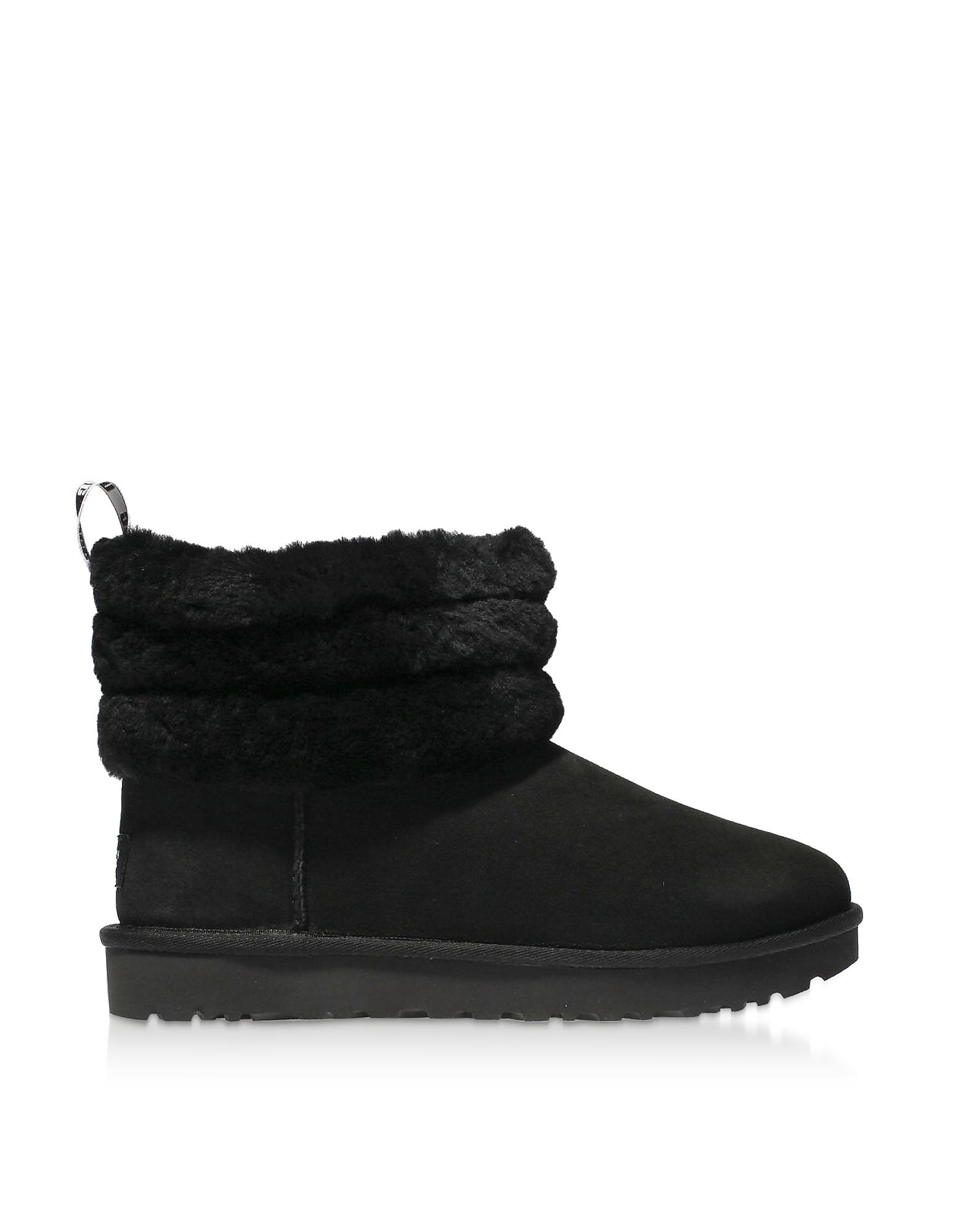 UGG Designer Shoes, Black Fluff Mini Quilted Boots