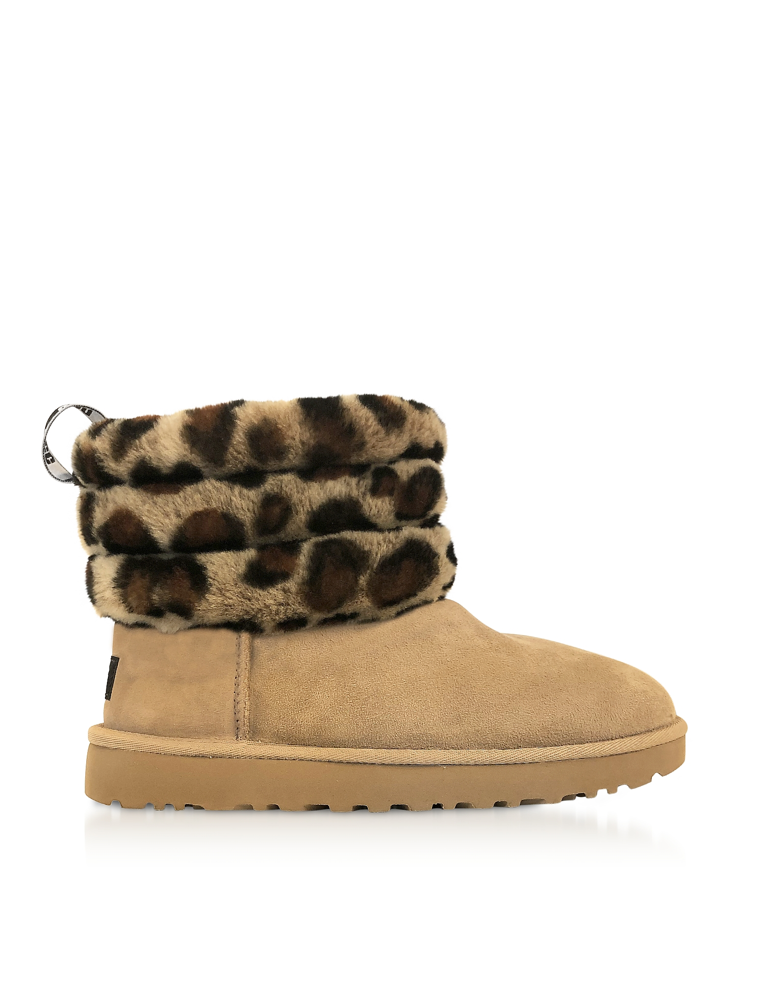 UGG Designer Shoes, Leopard Fluff Mini Quilted Boots