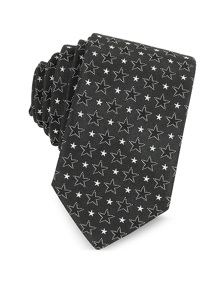 Givenchy Black and White Multi Stars Printed Silk Narrow Tie