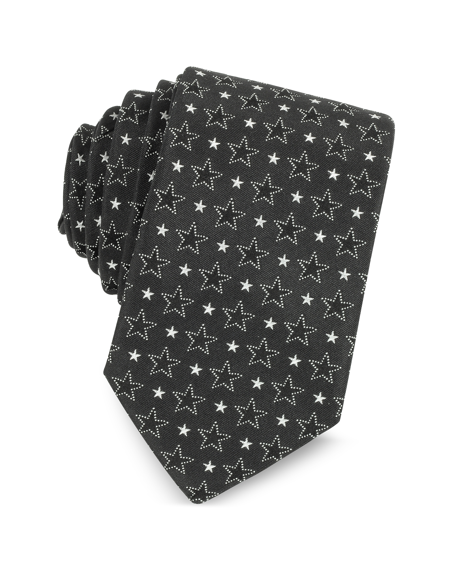Givenchy Ties, Black and White Multi Stars Printed Silk Narrow Tie